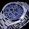 Excellanc Damen Armband Uhr Blau Silber Farben Metall Strass ZR3