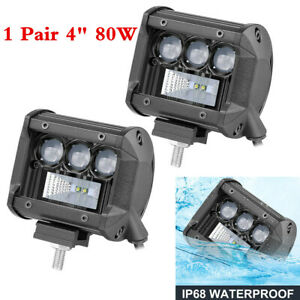 "Waterproof 2PCS Car SUV 4"" LED Light Bar Spot+Flood Pods Lamp Fog Driving Lights"