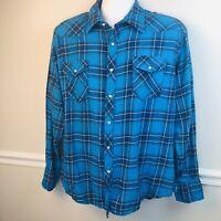 Wrangler Wrancher Blue Flannel Plaid Pearl Snap Shirt Men's XL Western Cotton