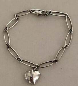 Tiffany & Co. Elsa Peretti Full Heart Chain Bracelet Sterling Silver 925 NO BOX