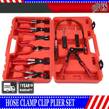 New 9PCs Hose Clamp Clip Plier Set Swivel Jaw Flat Angled Band Automotive Tools