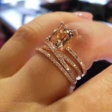3pcs/set Elegance Women Zirconia Rose Gold Plated Wedding Rings Size 10