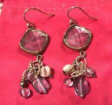 Silpada Sterling W2247 Silvr Brass Amethyst Beads Frosted Glass Earrings Was $64