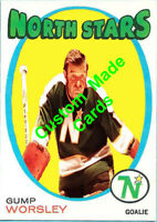 Custom made 1971-72 Minnesota North Stars Gump Worsley hockey card