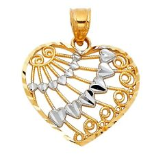14K SOLID GOLD Two-Tone Rose & Yellow Gold Heart Charm Pendant 1.8 g Jewelry