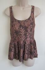 ASOS WOMEN'S SCOOP NECK SLEEVELESS  FLORAL LACE PEPLUM TOP   ~ Size 10