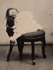 Great 6th plate tintype young girl reclining curly hair intinerant photographer