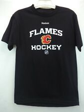 Calgary Flames Hockey Reebok NHL Black 100% Cotton T-Shirt  S