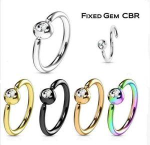 20g 18g 16g Fixed CZ Gem Ball Captive Bead Ring CBR Hoop Nose Lip Septum Ear