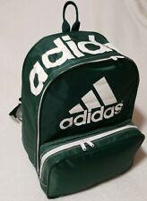 Vintage Adidas green  Backpack White Logo Nylon 1980s 1990s School Bag Spellout