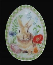 Madison Studio Floral Brown Bunny Checkered Border Egg-Shaped Glass Platter NEW