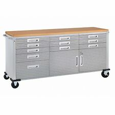 Steel Cabinet Rolling Work Benches Wood Table Kitchen Tool Box Storage Seville