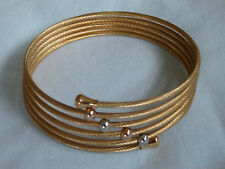 yellow gold stainless steel wire wrap bracelet with charms