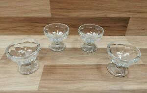4 x Vintage Pressed Glass Footed Dessert / Sundae Dishes / Bowls