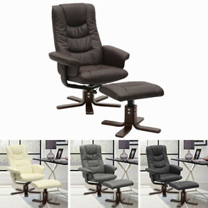 Swivel PU Leather Recliner Armchair Sofa Padded Seat Office Lounge Chair w Stool