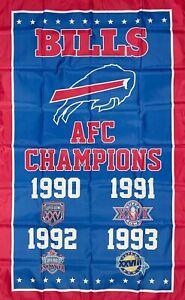 Buffalo Bills NFL AFC Championship Flag 3x5 ft Blue Sports Banner Man-Cave New