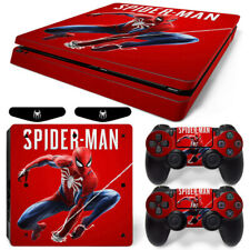 Spider-Man Vinyl Cover Skin Stickers for PS4 Slim Console & 2 Controllers