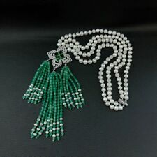 20'' 2 Strands White Pearl Necklace Green Agate Cz Pave Pendant