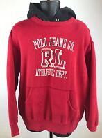 Vintage Polo Ralph Lauren Jeans Co RL 67 Sweater Hoodie Spell Out Flag Mens XL