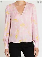 JOIE Yadra Lavender Rose Floral Silk V Neck Long Sleeve Top Size XS
