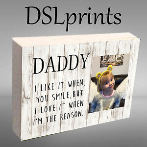 "Personalised Photo Block Wooden 6x4"" 7x5"" Picture Frame Any Image Daddy Mummy"