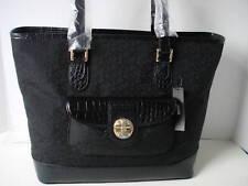 9575b1761e DKNY Turn Lock with Croc Bag Handbag Sac Bolsa Tote BlackMSRP   195 NWT