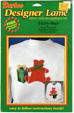 "Darice Designer Lamé Fabric Iron-On Applique Kit # 1118-74 ""Merry Bear"" NOS"