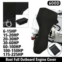 600D Boat Full Outboard Engine Motor Cover Fits Up to 6-225HP Black Waterproof