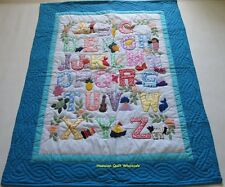 Hawaiian style ABC quilt baby crib blanket hand quilted wall hanging AQUA BLUE