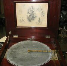 Antique Regina Working Double Comb Disc Mahogany Wood Music Box Patented 1897
