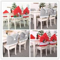2Pcs Xmas Decor Dinner Table Christmas Chair Cover Santa Claus Cap Home Decor