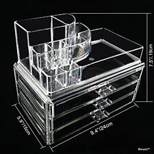 Clear Acrylic Jewelry Makeup Cosmetic Organizer Storage  - 3 Drawer Round Top