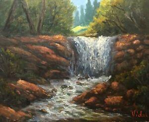 Original oil landscape painting in oils - water cascade
