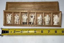Vintage 7 pieces of Netsukes Workers People Figurines 1.5� Japan Wooden Box