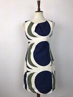 Anthropologie Tabitha Women Sz 4 Shift Dress Mod Circle Drafting Cotton Lined