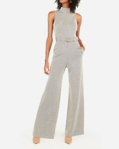 NEW EXPRESS BELTED HOUNDSTOOTH MOCK NECK WIDE LEG JUMPSUIT SZ XS