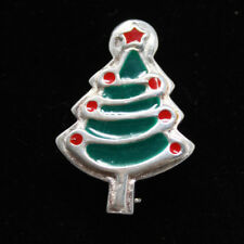 Christmas Tree Sterling Silver 925 Red Green Inlayed Enamel Brooch Pin #d-1