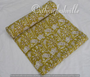 Indian Cotton Kantha Quilt Bedspread Ethnic Hand Block Print Traditional Blanket