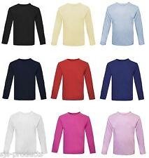 NEW Baby Toddler Boy/Girl Plain Long Sleeve T-Shirt Top 100% Cotton 0 to 6 Kids