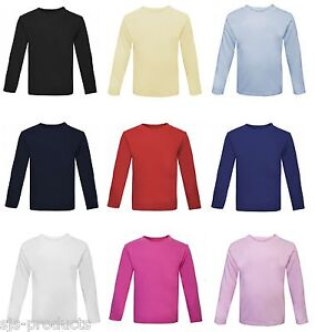 Baby Toddler Boy/Girl Plain Long Sleeve T-Shirt Top 100% Cotton 0-6 Kids Babies