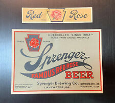 Sprenger Famous Red Rose Beer Label / Irtp / Early 1930'S / 32 Oz