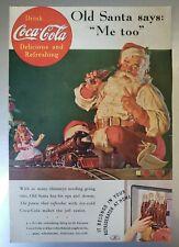 "1936 Coca-Cola bottle Old Santa Claus Says ""Me Too"" Doll & Train Vintage"