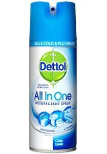 3 X Dettol All In One Disinfectant Spray 400 Ml Crisp Linen Kills 99.9% Bacteria