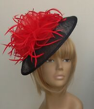 New Bespoke Design Red/Black Hat Fascinator Mother Of The Bride/Groom Weddings