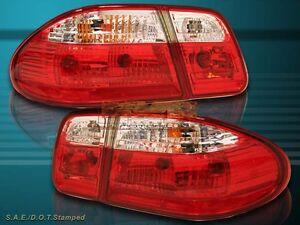 96-02 MERCEDES BENZ W210 E-Class E320 E420 E430 SEDAN RED CLEAR TAIL LIGHTS 4PC
