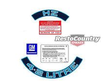 Holden V8 Engine Decal Sticker Kit HZ 4.2 Litre + Fan + Battery + Emission