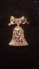 Vintage Gerrys Christmas Bell Gold Tone Signed Pin Free Shipping
