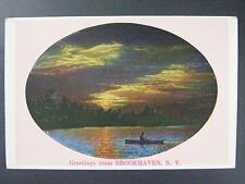 Greetings From Brookhaven New York Lake View Boat Vintage Linen Postcard 1930s