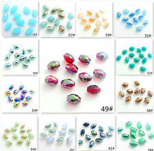 Wholesale 80pcs Faceted Glass Crystal Finding Loose Spacer Oval Rugby Bead 6x8mm