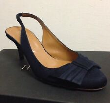 Hobbs London UK Size 5 EU 38 Navy Blue Bow Slingback Stiletto  Kitten Heels